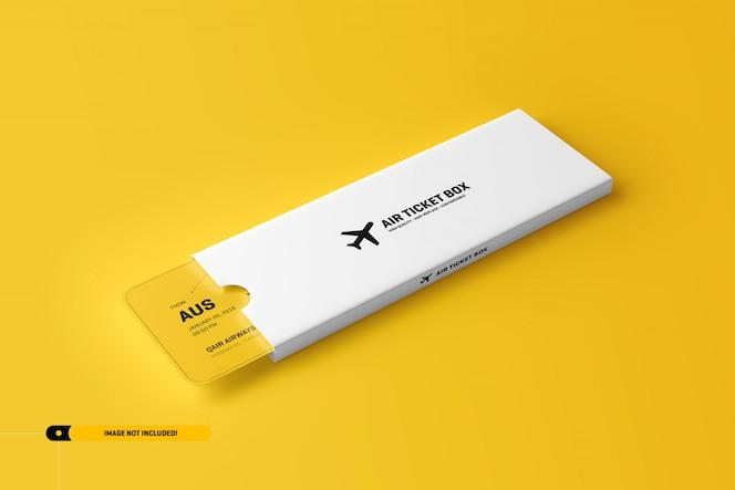 Maqueta de boleto de avión en un paquete