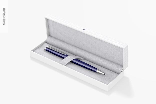 Maqueta de bolígrafo en caja de regalo, abierta