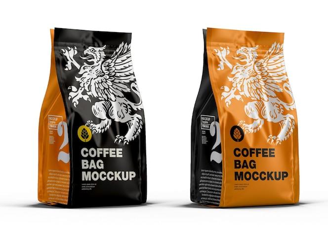 Maqueta de bolsa de café metálica