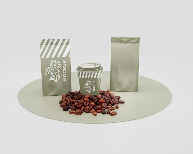 Maqueta de bolsa de café de papel elegante
