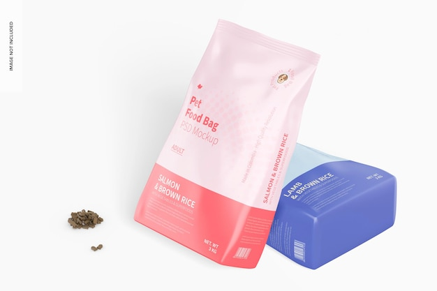 Maqueta de bolsa de comida para mascotas, inclinada