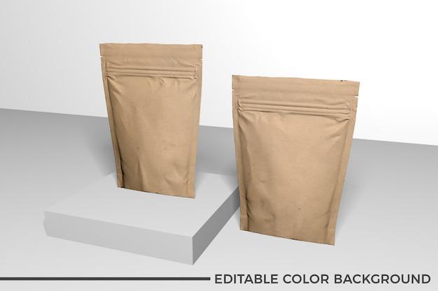 Maqueta de bolsa de comida de papel