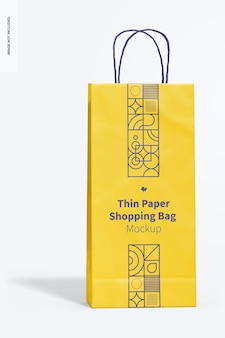 Maqueta de bolsa de compras de papel fino