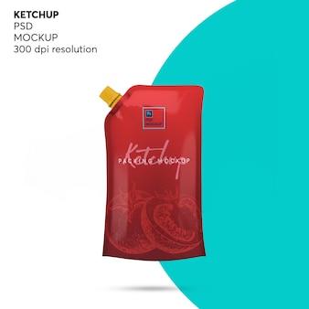 Maqueta de bolsa de ketchup doypack