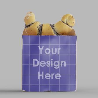 Maqueta de bolsa de panadería de papel kraft aislado