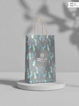 Maqueta de bolsa de papel de compras pequeña