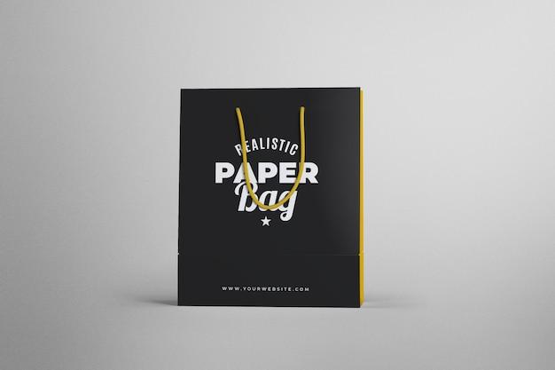 Maqueta de bolsa de papel de compras realista