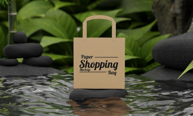 Maqueta de bolsa de papel de concepto de naturaleza