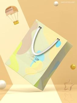 Maqueta de bolsa de papel con logo plateado