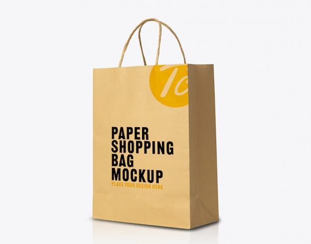 Maqueta de bolsa de papel marrón kraft reciclada para su diseño