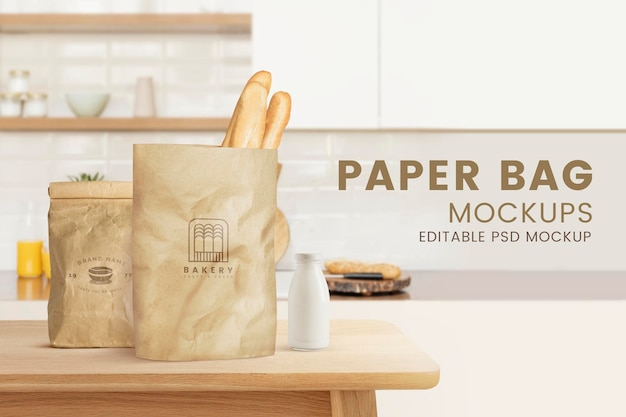 Maqueta de bolsa de papel de supermercado psd con logo de panadería