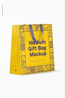 Maqueta de bolsa de regalo mediana con asa de cinta
