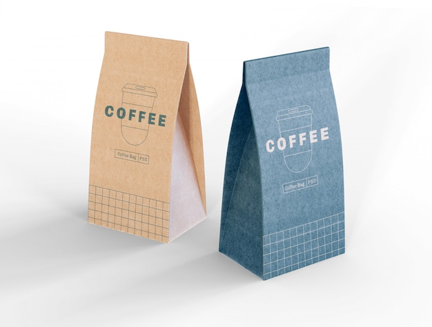 Maqueta de bolsas de café de papel