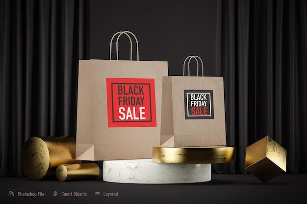 Maqueta de bolsas de compras aislada para black friday