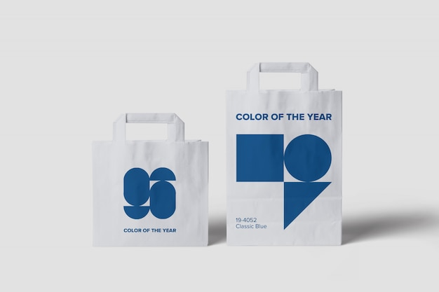 Maqueta de bolsas de diferentes tamaños.