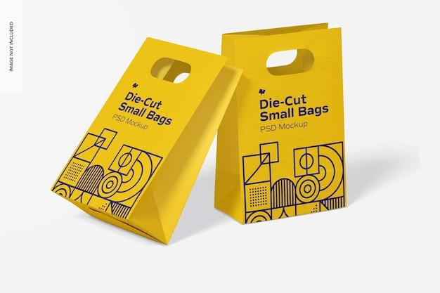 Maqueta de bolsas de papel pequeñas troqueladas, inclinada