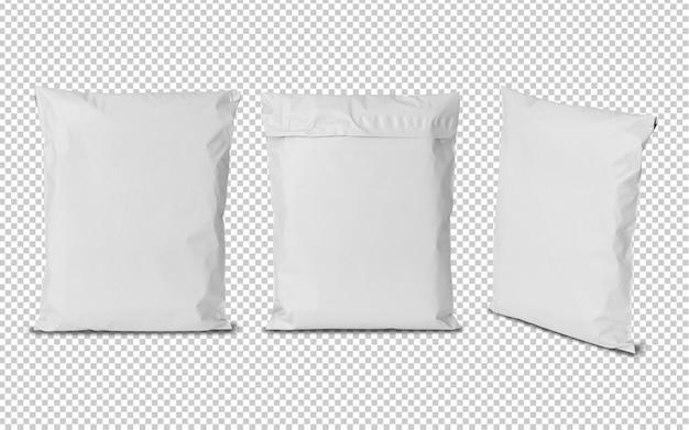 Maqueta de bolsas de plástico blanco en blanco