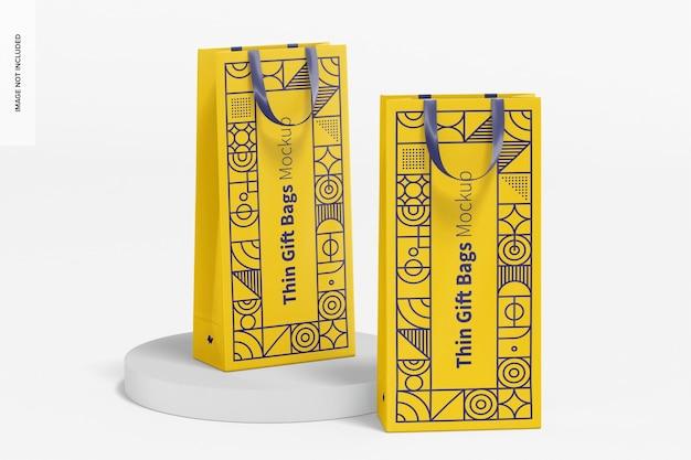 Maqueta de bolsas de regalo delgadas con asa de cinta, perspectiva