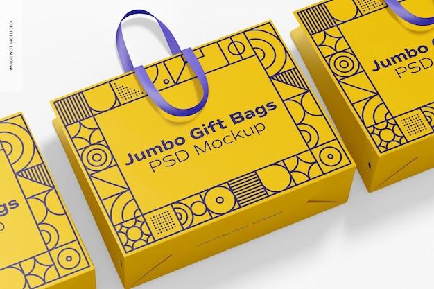 Maqueta de bolsas de regalo gigantes con asa de cinta, vista superior