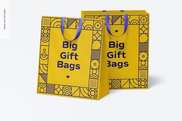 Maqueta de bolsas de regalo grandes con asa de cinta, vista frontal