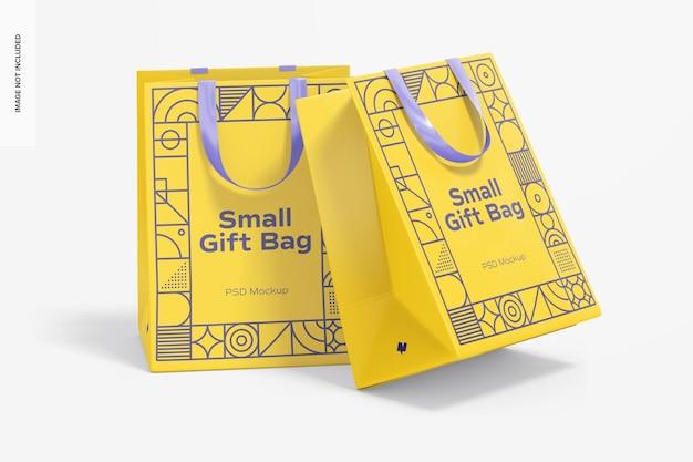 Maqueta de bolsas de regalo pequeñas con asa de cinta