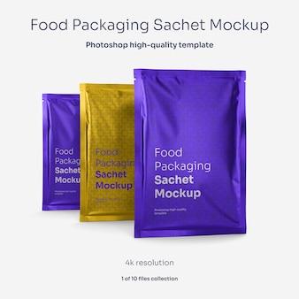 Maqueta de bolsita de envasado de alimentos de aluminio