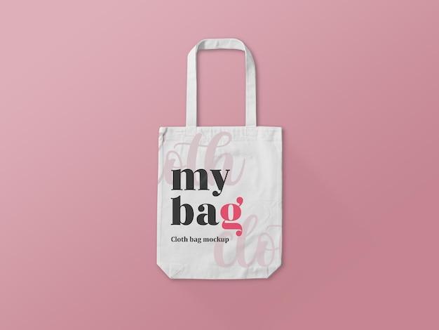 Maqueta de bolso de compras de tela blanca