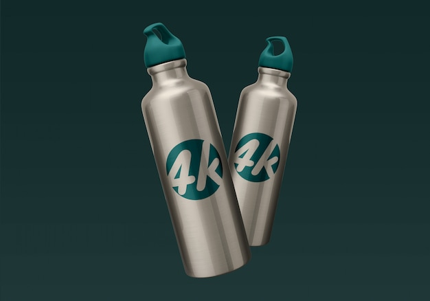 Maqueta de botella de agua de aluminio