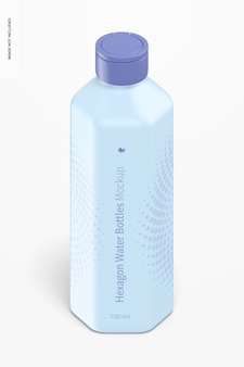 Maqueta de botella de agua hexagonal de 700 ml, vista isométrica
