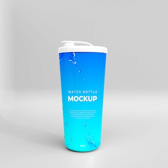 Maqueta de botella de agua realista 3d