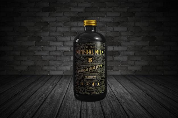 Maqueta de botella de ámbar negro