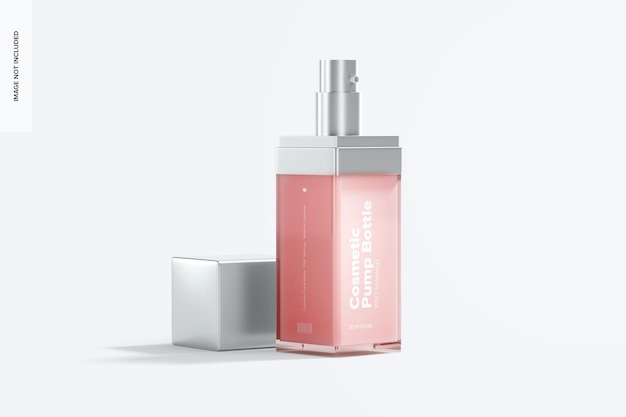 Maqueta de botella de bomba cosmética, abierta