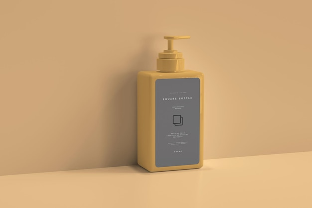 Maqueta de botella de bomba cuadrada