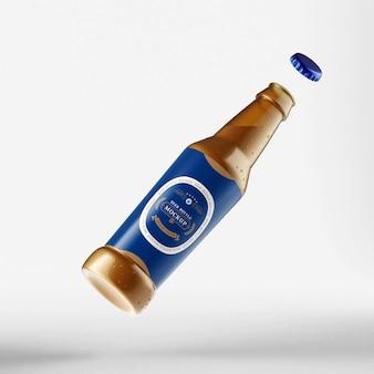 Maqueta de botella de cerveza fotorrealista