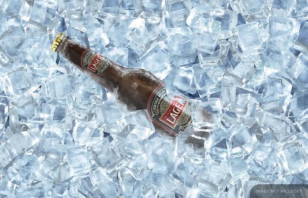 Maqueta de botella de cerveza marrón congelada