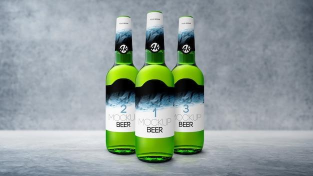 Maqueta de botella de cerveza realista