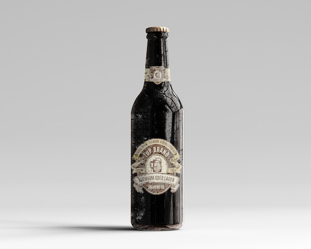 Maqueta de botella de cerveza de vidrio ámbar con gotas de agua - vista frontal