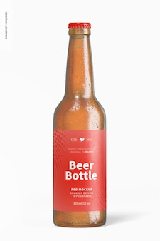 Maqueta de botella de cerveza, vista frontal