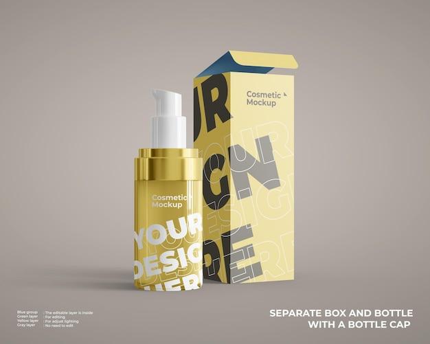 Maqueta de botella cosmética de base con paquete de caja