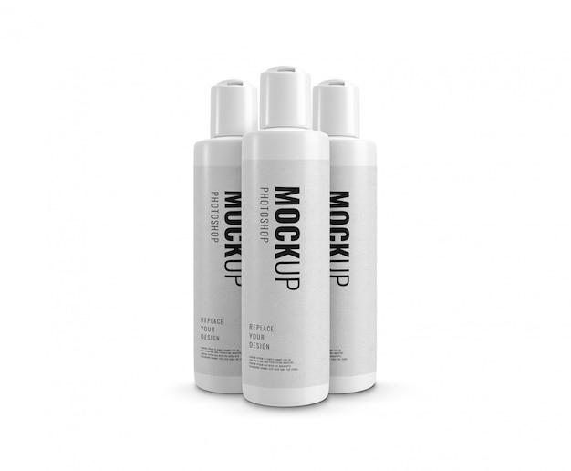 Maqueta de botella cosmética de crema blanca