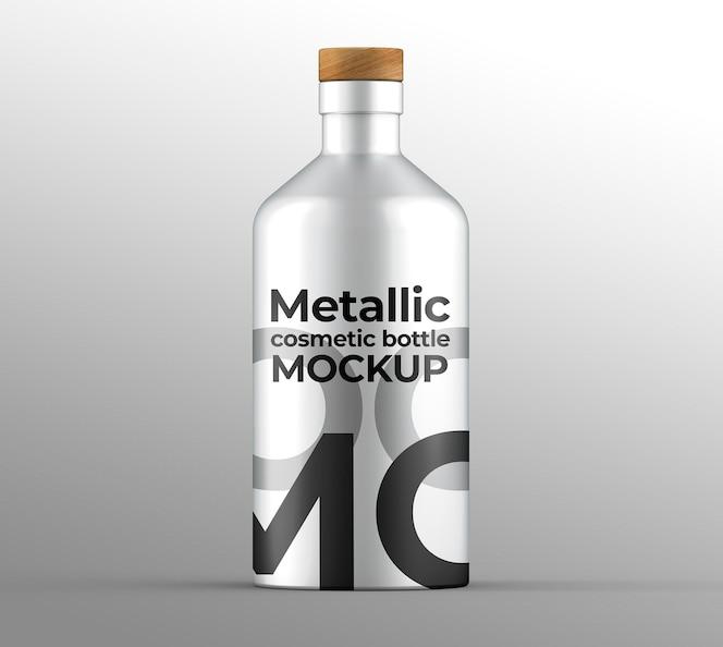 Maqueta de botella cosmética metálica