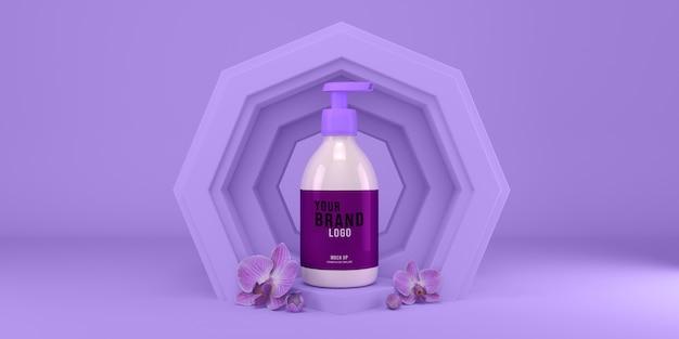 Maqueta de botella de dispensador de lavado a mano en render 3d abstracto superficie púrpura