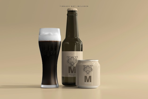 Maqueta de botella y lata de cerveza o refresco rechoncho de 250 ml