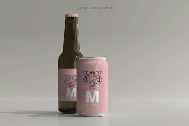 Maqueta de botella y lata de cerveza o refresco de tamaño mediano de 330 ml