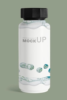 Maqueta de botella de mármol blanco psd arte experimental hecho a mano