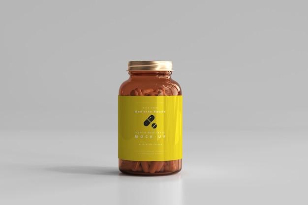 Maqueta de botella de medicina ámbar