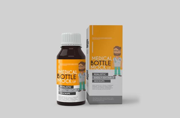 Maqueta de botella de medicina