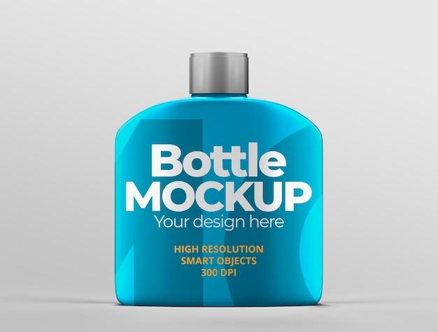 Maqueta de botella metálica para presentaciones de marca y publicidad.