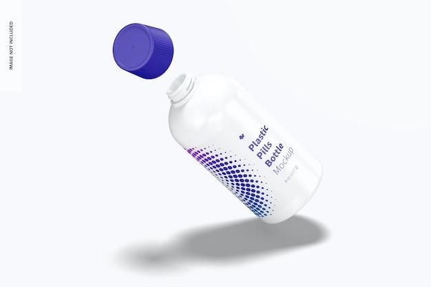 Maqueta de botella de pastillas de plástico