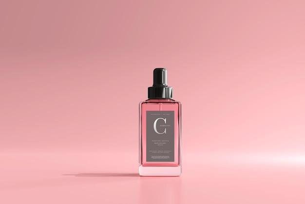 Maqueta de botella de perfume cuadrada
